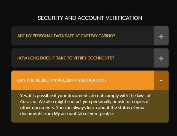 Account verification in FastPay Casino