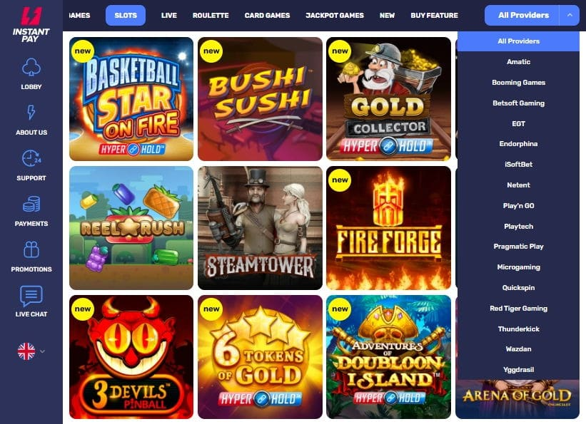 GAME SELECTION AT INSTANTPAY CASINO