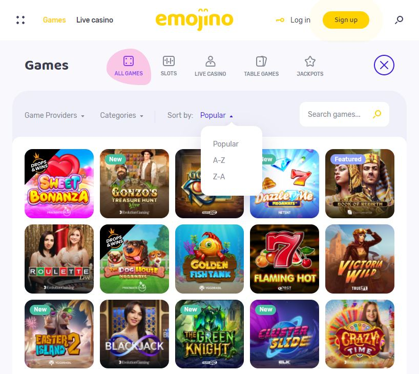 Popular Emojino Casino Games