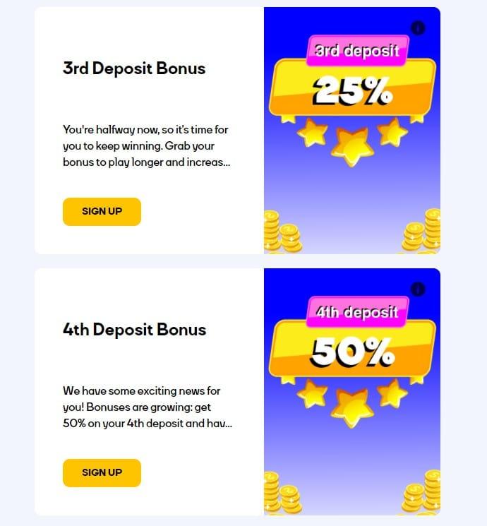 3rd & 4th Deposit Bonus catcasino