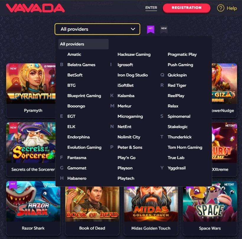 Vavada Casino Games