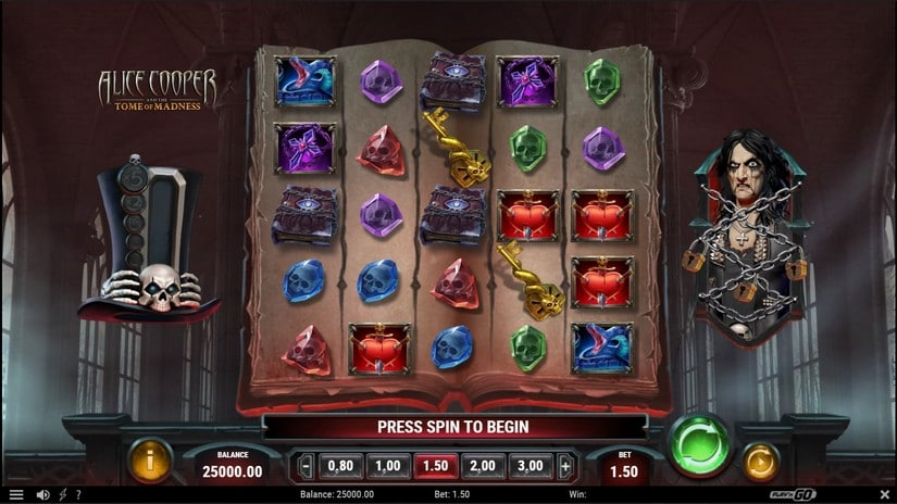 Alice Cooper and the Tome of Madness slot symboly